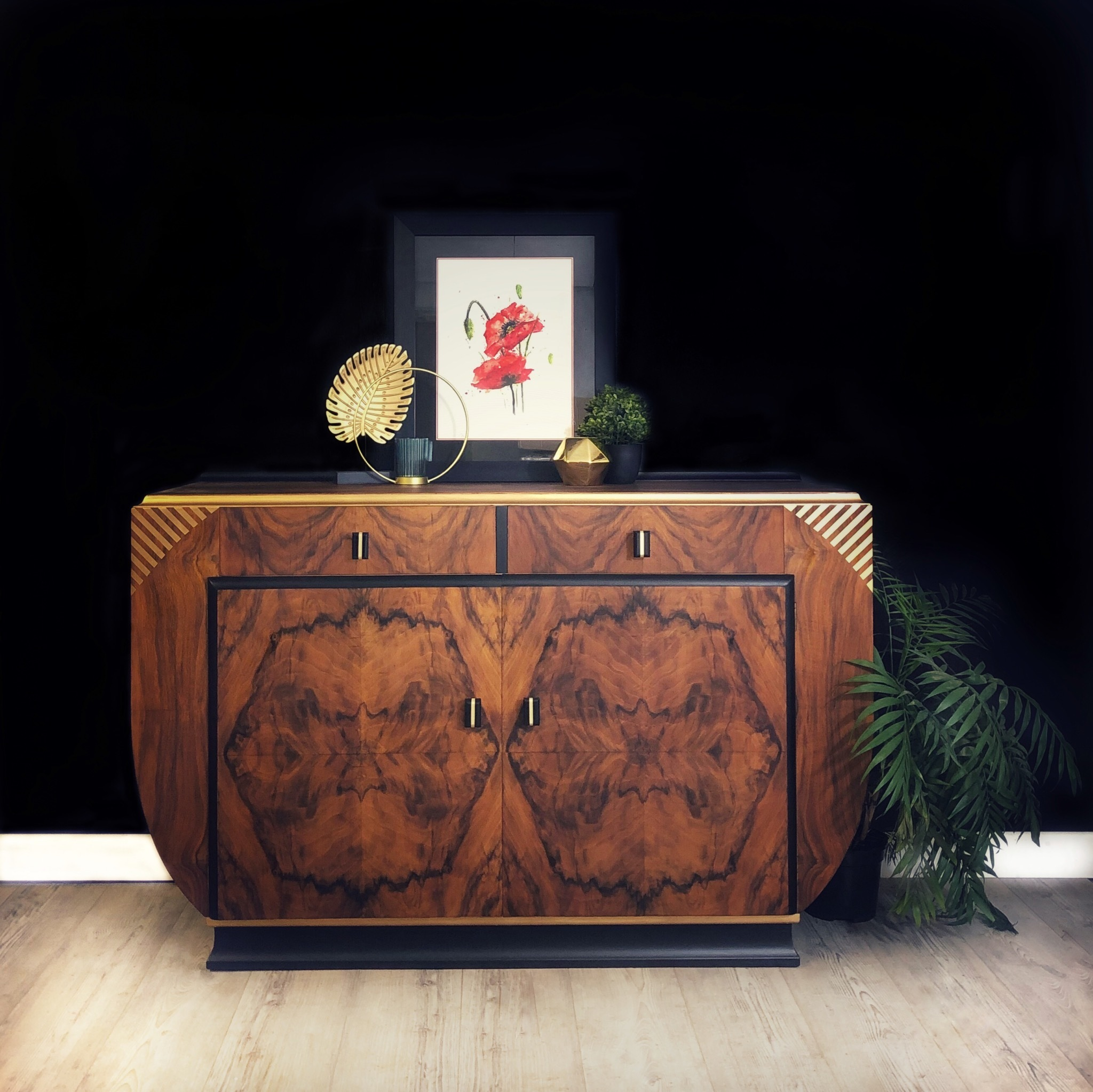 Art Deco Sideboard Art Deco Drinks Cabinet Burr Walnut Black And Gold Buffet Server Retro Cocktail Cabinet Grant Vinterior