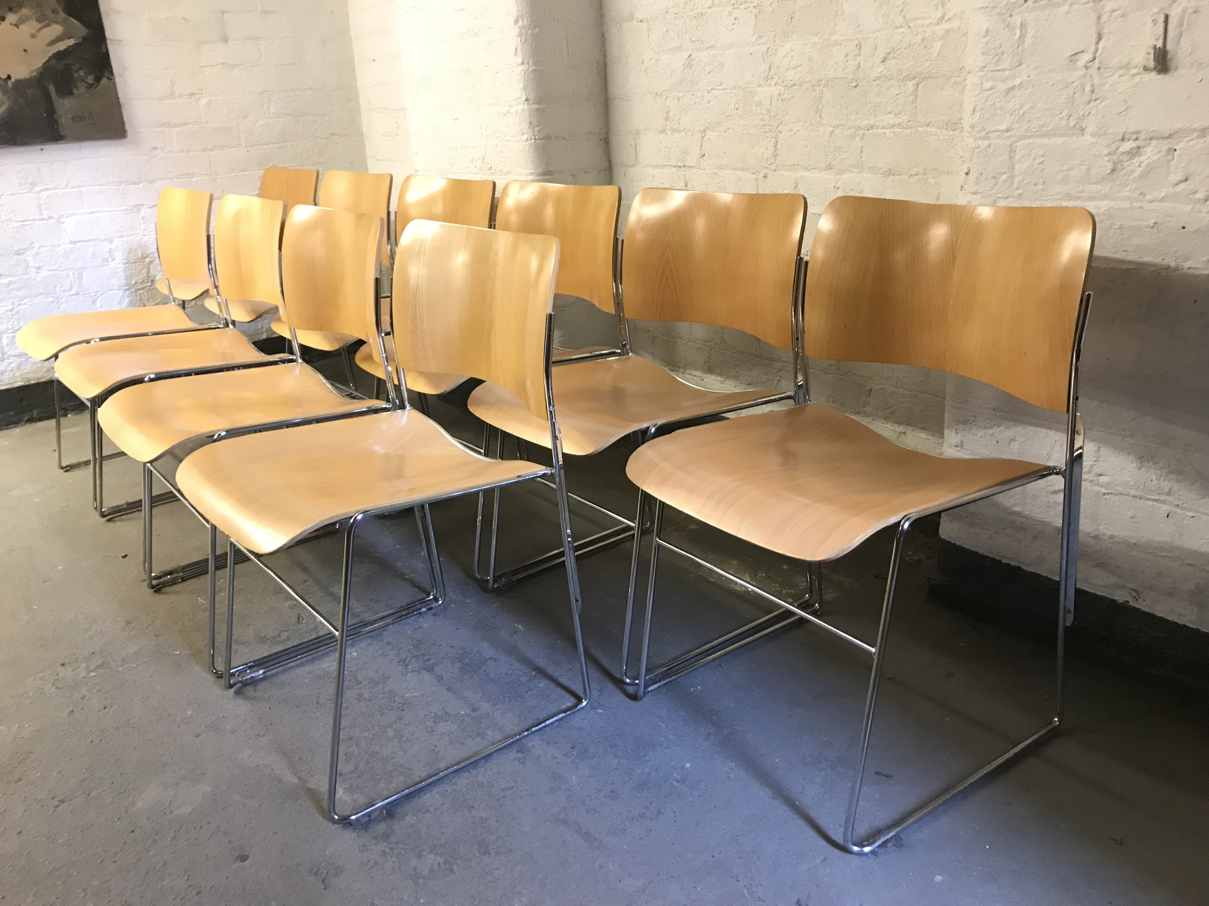 40 4 Stacking Chairs By Seid International For David Rowland 4 Available