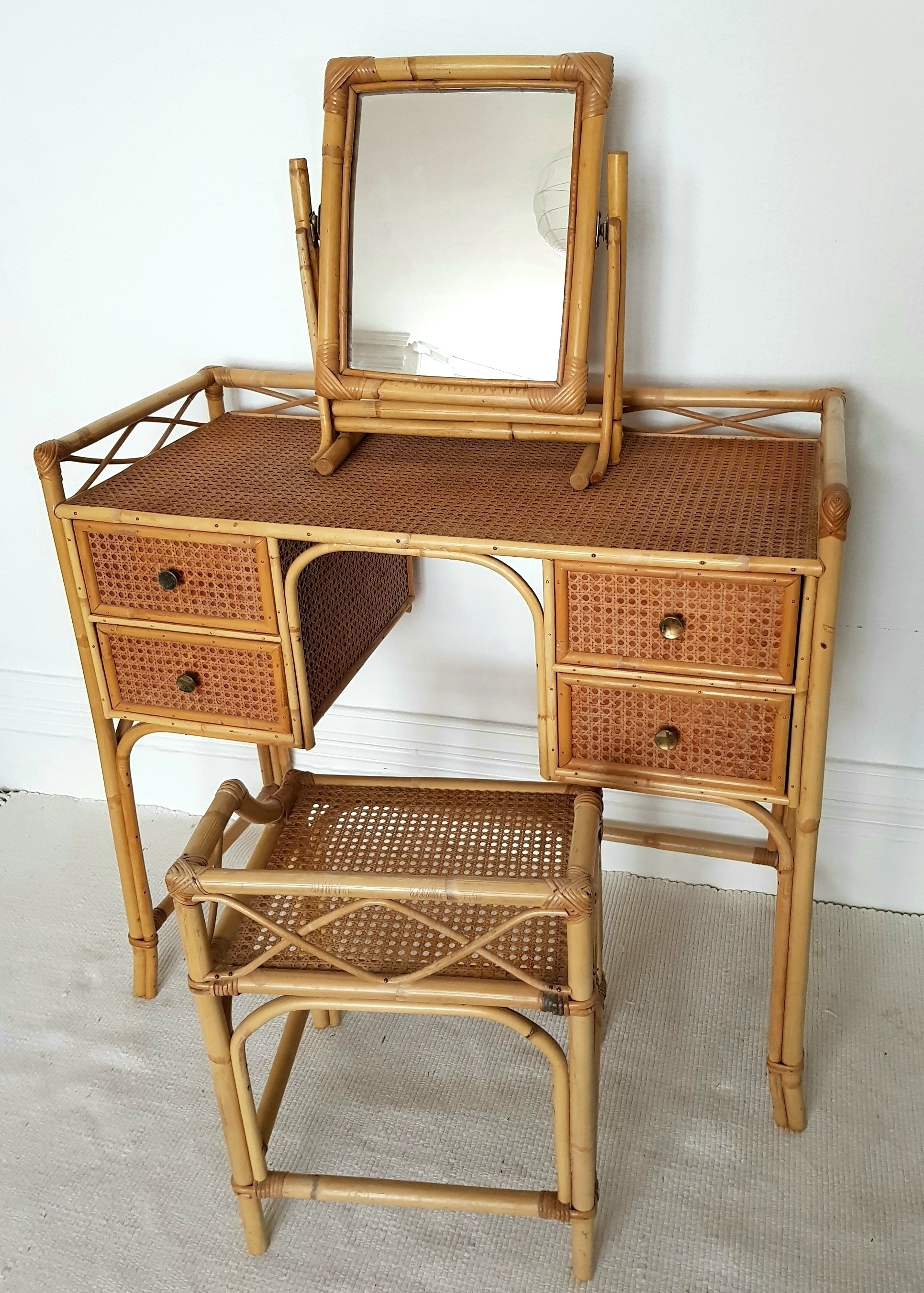 midcentury bamboo rattan dressing table set cane desk with stool and mirror bohemian