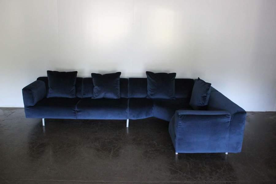 mint huge cassina 250 met l shape sectional sofa in navy blue velvet cassina vinterior