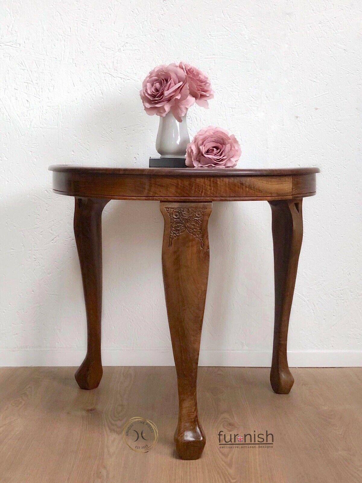 walnut wood coffee side table 3 legged carved design
