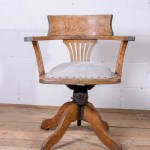 Vintage Antique Wooden Oak Swivel Tilt Restored Office Desk Chair Vinterior