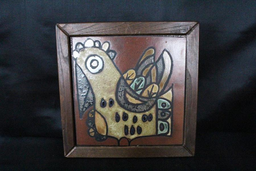 large vintage mid century retro framed ceramic tile art tile wall art hand painted wood frame chicken bird animal wall hanging abstract
