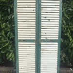 Tall Pair Of French Antique Wooden Window Shutters Original Chippy Paint