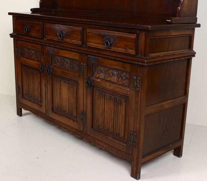old charm oak dresser leaded glass glazed welsh kitchen dresser
