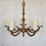 French Pair Vintage Brass Chandeliers 5 Arm Etched Chandeliers 5 Light Set Of 2 Brass Ceiling Lights Two Ornate Ceiling Lights Vinterior