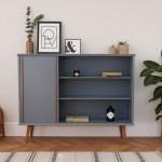 Mid Century Teak Display Cabinet Bookcase Shelving Unit Painted Blue Grey