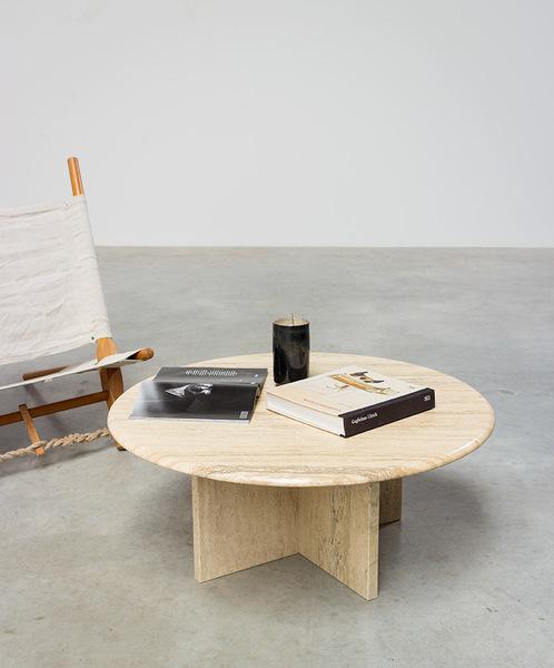 round modernist travertine cocktail table 1970