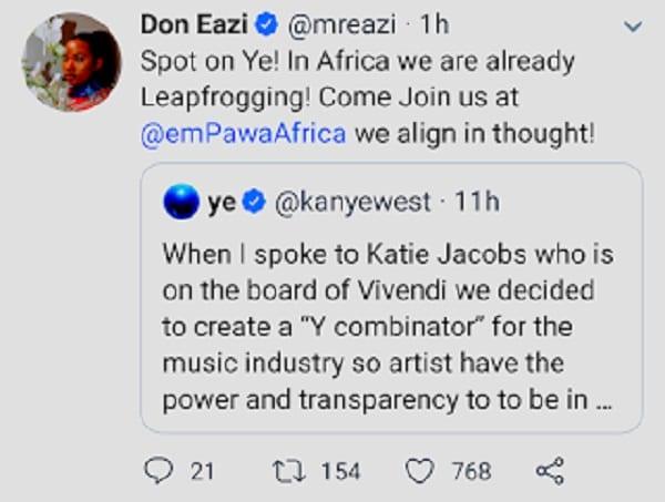 Le chanteur nigérian, Mr. Eazi veut signer Kanye West dans son label de musique
