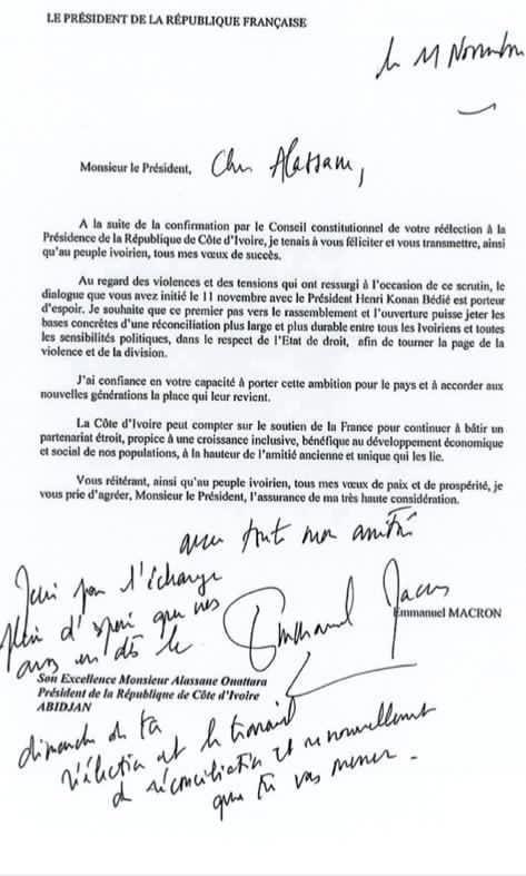 """Soro découvre la lettre complète de Macron à Ouattara et s'écrie: """"Féliciter quelqu'un qui vient de violer une Constitution avec plus de 100 morts dont un décapité"""""""