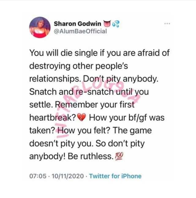 «Vous mourrez célibataire si vous avez peur de détruire la relation des autres»