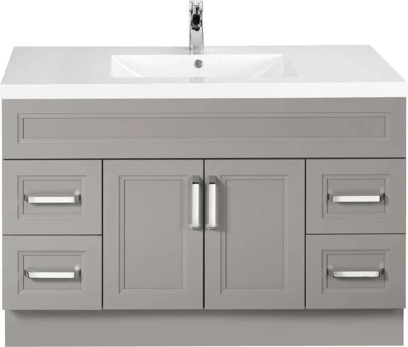 Cutler Kitchen Bath Urbdb48sbt 48 Inch Single Bowl Vanity With Acrylic Top With Overflow European Hardware 2 Soft Close Doors 4 Soft Close Drawers And Chrome Handles Included