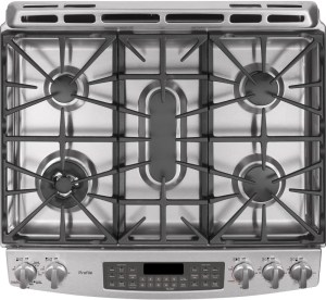 GE PGS950SEFSS 30 Inch SlideIn Double Oven Gas Range with