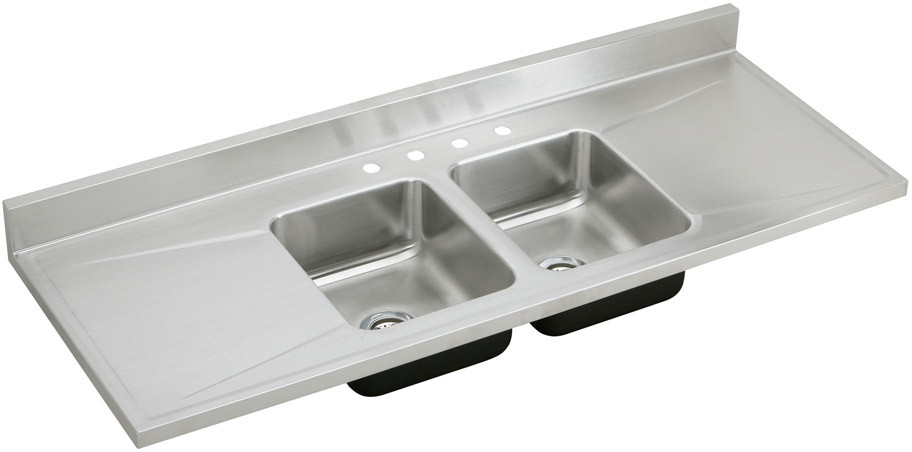 Elkay D66290 66 Inch Work Top Double Bowl Stainless Steel