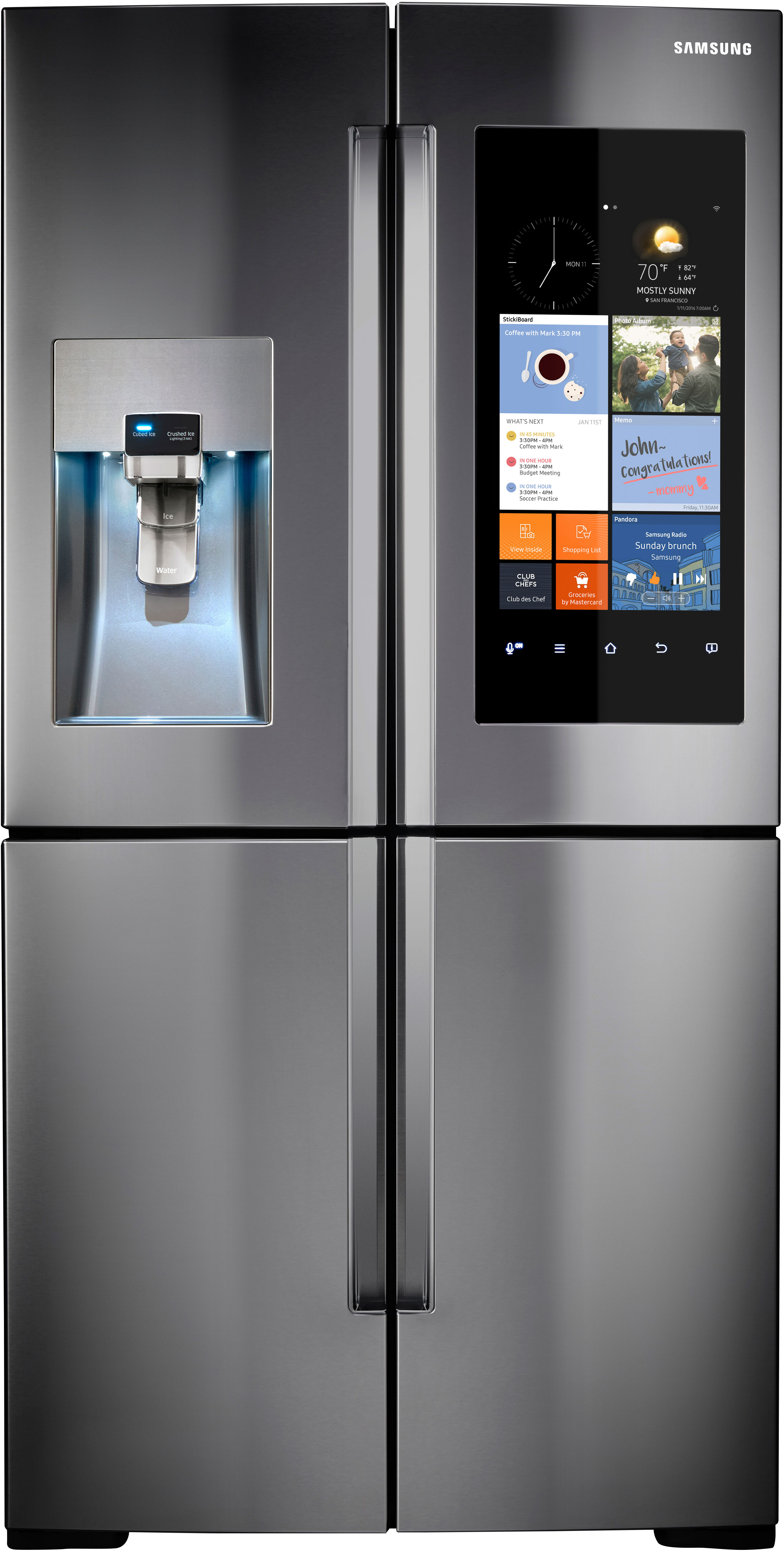 Samsung RF28K9580SR 36 Inch 4 Door Refrigerator With Family Hub WiFi LCD Touchscreen Built In