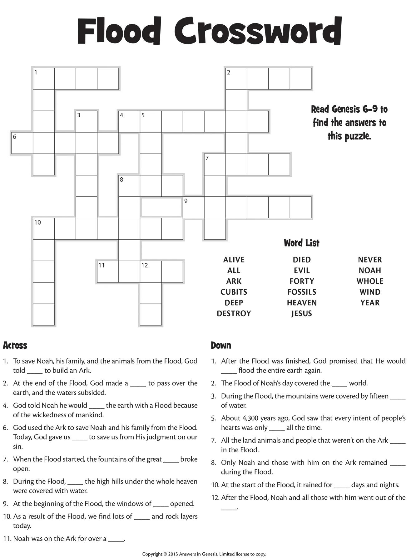 Flood Crossword