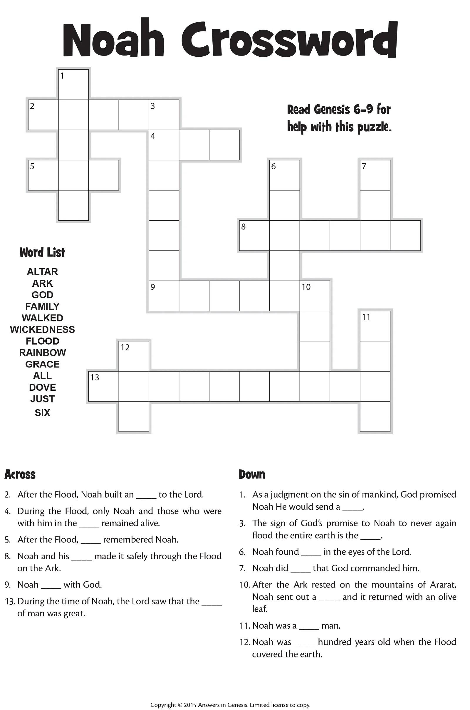 Noah Crossword