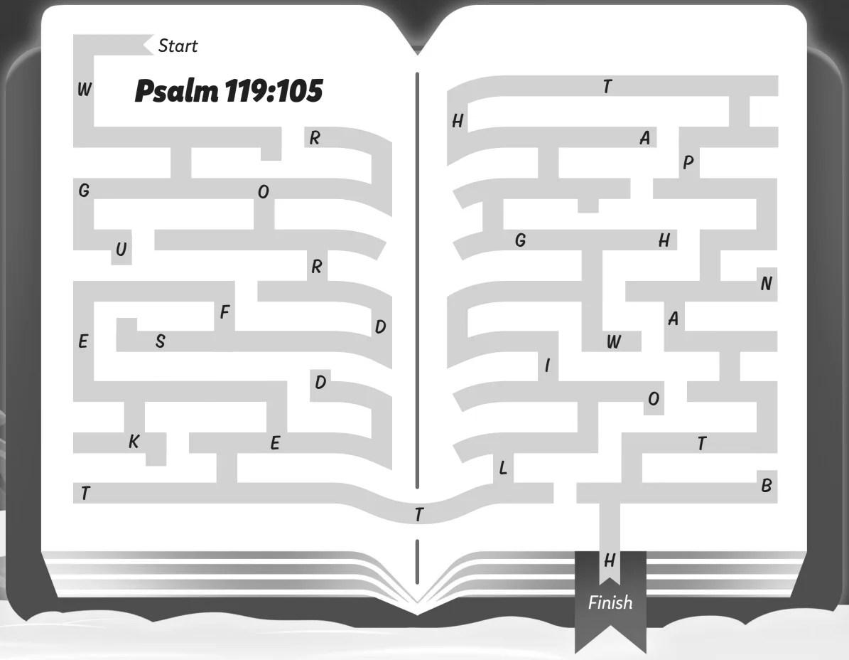 Psalm 119 105 Maze Kids Game Activity