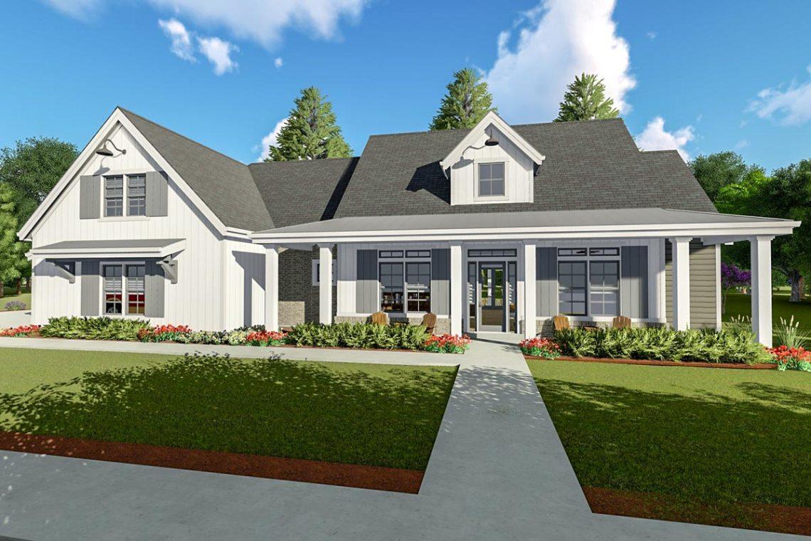 Flexible Modern Farmhouse with Split Bedrooms - 64462SC ...