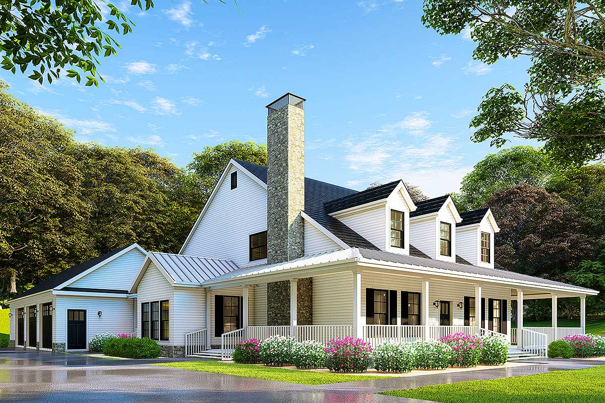 Country Home Plan With Wonderful Wraparound Porch