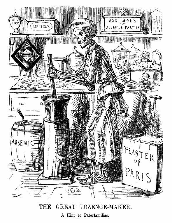 "A warning about food adulteration in the cartoon ""The Great Lozenge-Maker. A Hint to Paterfamilias"" (1858) by John Leech"