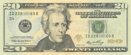 Andrew Jackson on the $20 bill, looking comparatively boring.