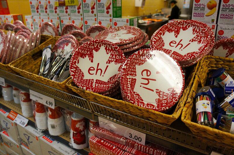 Canada Day items on sale in Nova Scotia.