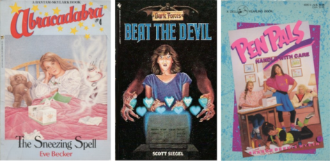 "Left to right: ""Abracadabra #4: The Sneezing Spell"" by Eve Becker; ""Dark Forces: Beat the Devil"" by Scott Siegel; ""Pen Pals #7: Handle With Care"" by Sharon Dennis Wyeth."