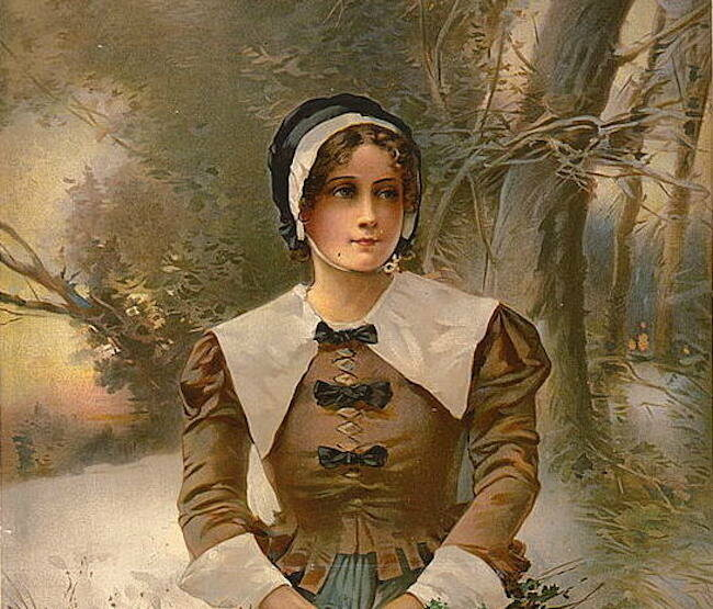 A Puritan lady (as imagined by a 19th-century artist).