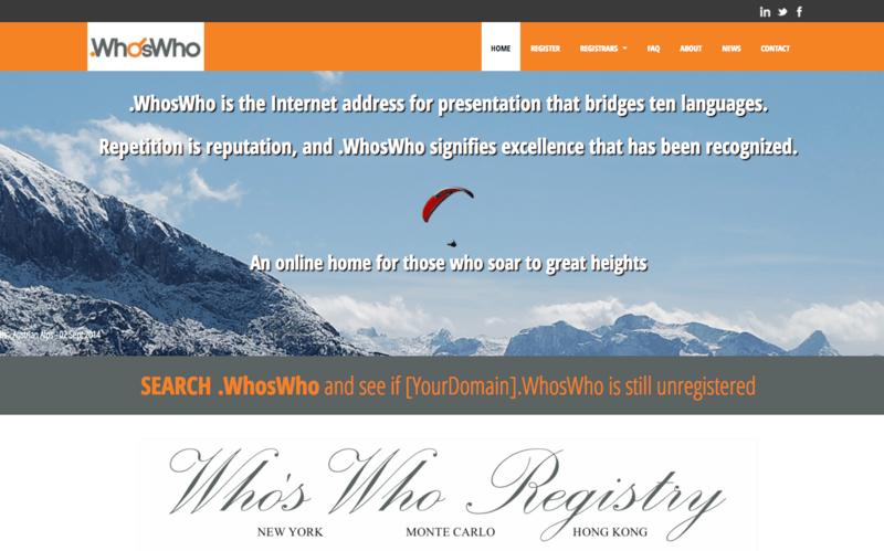 Le site Web de .whoswho.