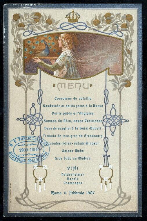 Menu pour une balle accueilli par le roi italien Victor Emmanuel III, 1907.