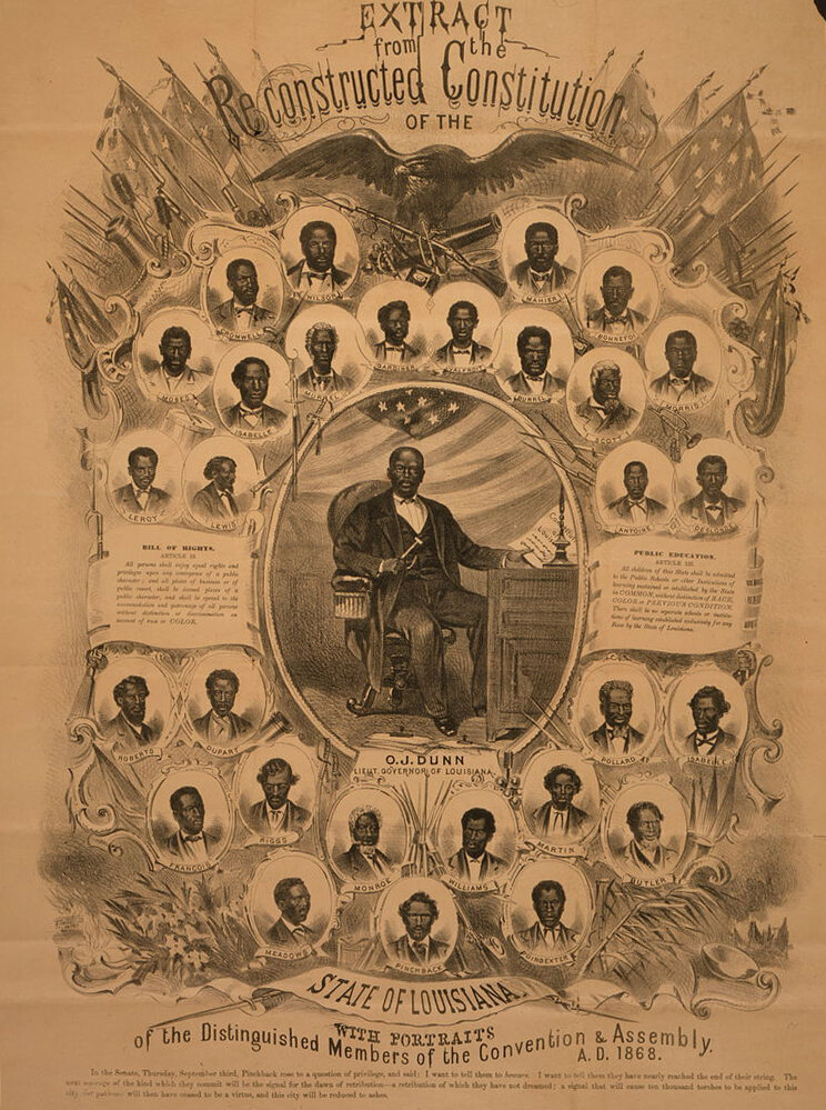Illustrations of delegates to the Louisiana Constitutional Convention, with Oscar J. Dunn at center.