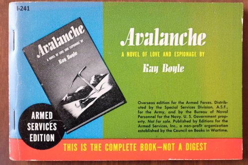 Spy thrillers, like Kay Boyle's <em>Avalanche,</em> were a popular ASE genre.