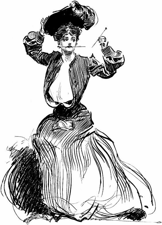 The iconic Gibson Girl, drawn by Charles Dana Gibson, pinned her hair up on her head, with hatpins to keep her hat in place.