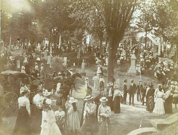 A historic image of the Woodland Cemetery in Dayton, Ohio.