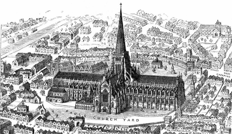 Old St. Paul's Cathedral in London was completed in 1314 and destroyed in the Great Fire of London in 1666. In the early 14th century, religious buildings saw as many murders as taverns.