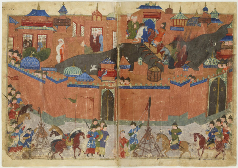 The siege of Baghdad in 1258, as depicted in a 15th-century manuscript.