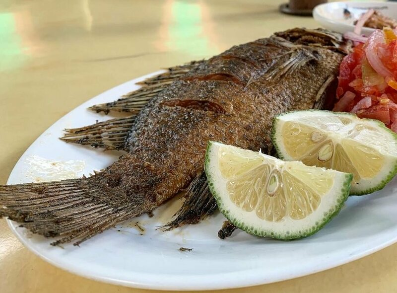 Fried tilapia from Lake Victoria beckons diners at Ranalo Foods.