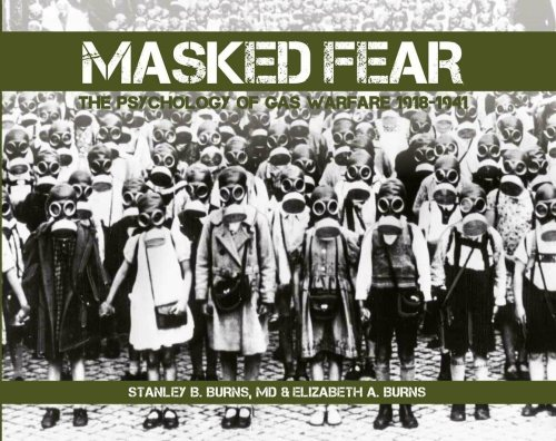 The cover for <em>Masked Fear: The Psychology of Gas Warfare 1918–1941</em>, depicting an entire school in Berlin equipped with gas masks, 1939.