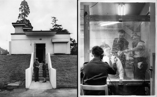 The entrance to the underground headquarters of the Royal Observer Corps (ROC), in Maidstone, Kent, June 1960 (left); ROC members in the headquarters during a radioactive fallout exercise, October 1961.