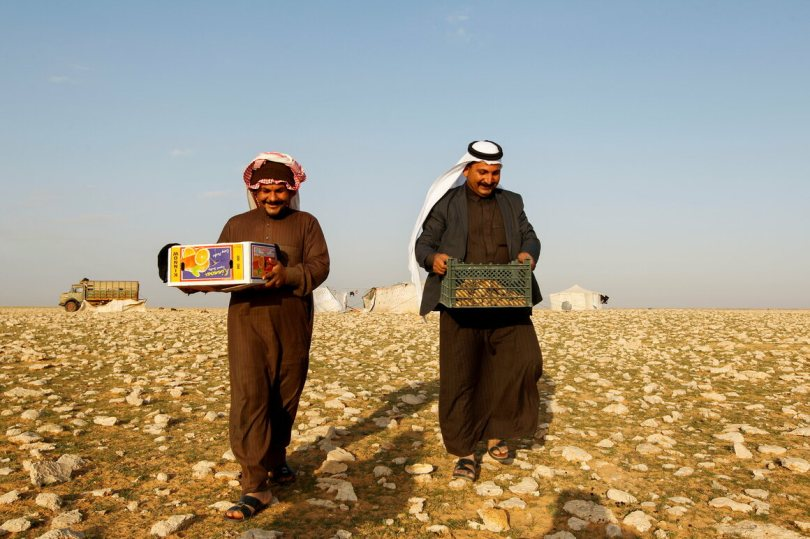Hussein Abu Ali (right), a driver, carries boxes of truffles in the desert in Samawa, February, 2021.