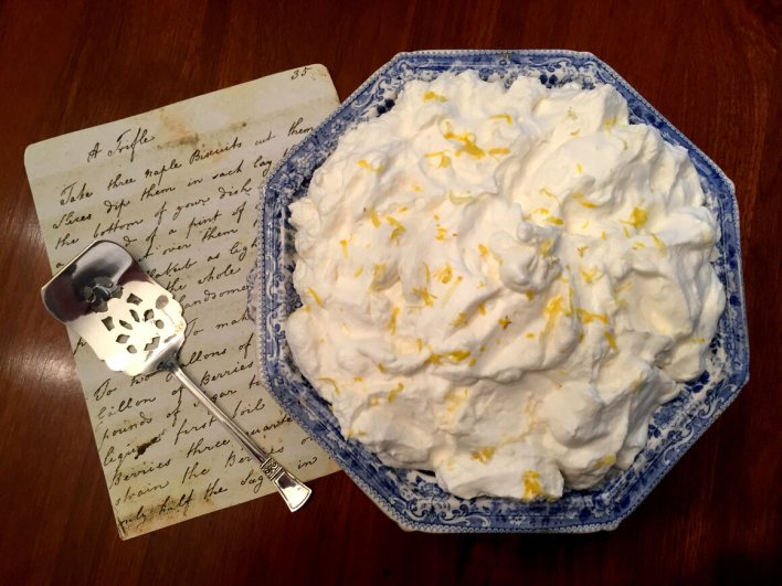 """""""A Trifle With Whipt Syllabub,"""" adapted from <em>Martha Lloyd's Household Book</em> and styled by Julienne Gehrer."""