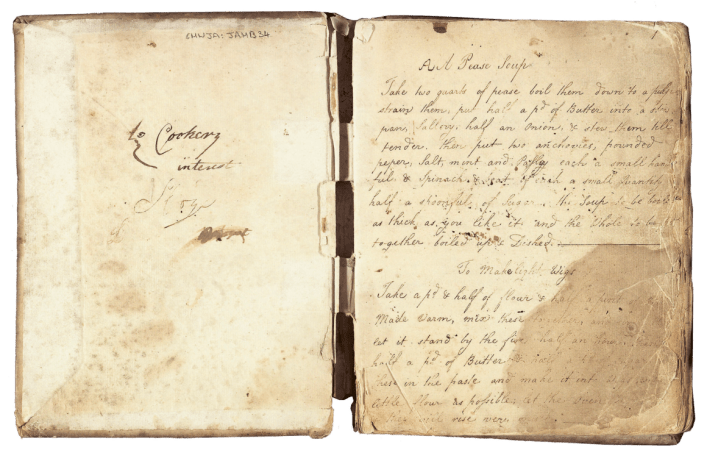 """Martha Lloyd's recipe for """"pease"""" soup and for """"light wigs,"""" a type of bun. In a letter, Jane Austen described sitting down to a dinner of """"some pease-soup, a sparerib, and a pudding."""""""