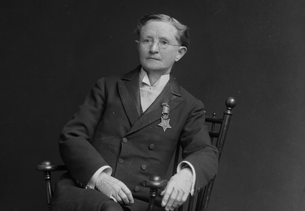 Mary Walker, with her Medal of Honor on her lapel, 1873.