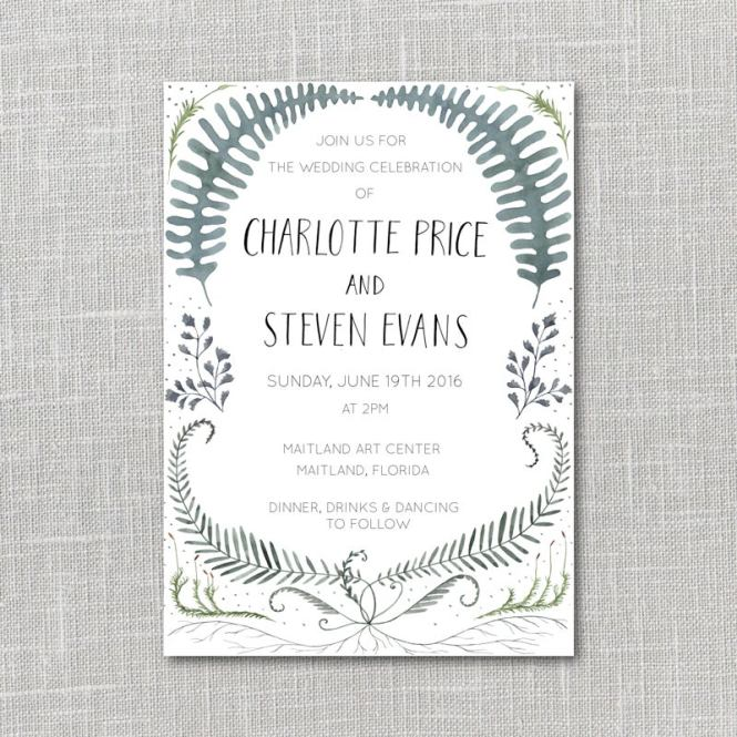 Ferns Printable Wedding Invitation Suite With Custom Hand Lettered Names