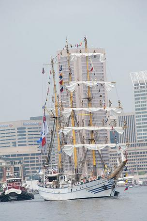 Cadets from the Indonesian tall ship Dewaruci were singing and playing music on deck as their vessel pulled away.