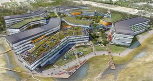 Google's NBBJ-designed Bay View campus is one of the green-friendly campus projects under development in the Valley.</p> <p>