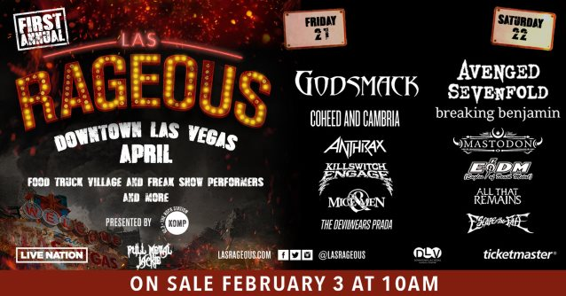 AVENGED SEVENFOLD, GODSMACK, ANTHRAX Set For LAS RAGEOUS Festival In Downtown Las Vegas