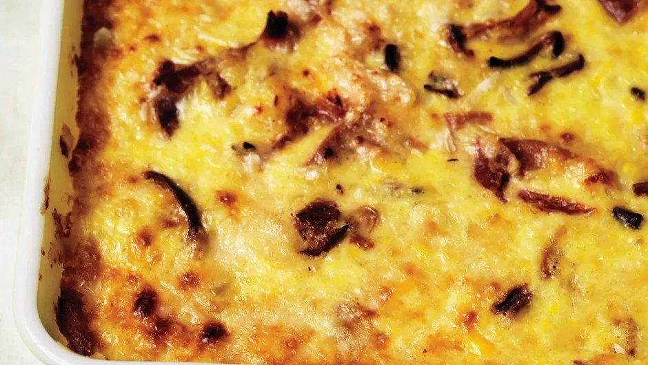 Image result for corn pudding mushrooms ham