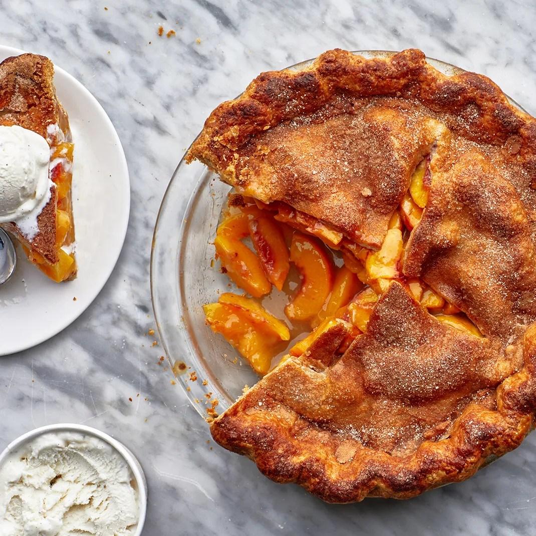 Peach Pie served with ice cream